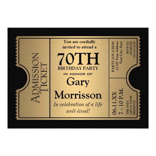 La 70.a fiesta de cumpleaños del estilo de oro del invitacion personalizada