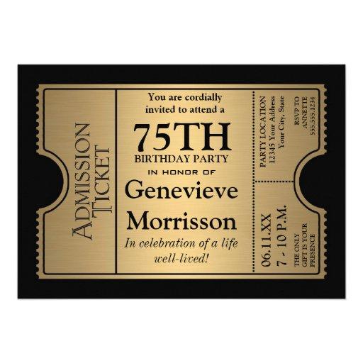 La 75.a fiesta de cumpleaños del estilo de oro del invitación personalizada