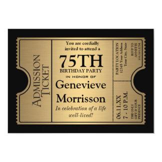 La 75.a fiesta de cumpleaños del estilo de oro del invitación 12,7 x 17,8 cm
