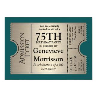 La 75.a fiesta de cumpleaños del estilo de plata invitaciones personalizada
