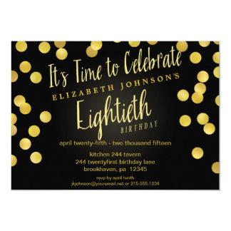 La 80.a fiesta de cumpleaños del confeti elegante invitación 12,7 x 17,8 cm