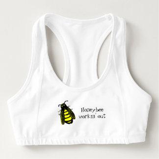 La abeja Workin hacia fuera lindo añade su nombre Sujetador Deportivo