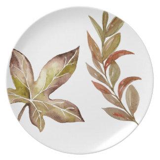 La acción de gracias rústica deja la placa de la plato para fiesta