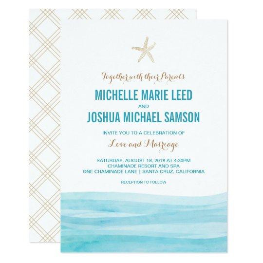 La acuarela agita la invitación del boda de playa