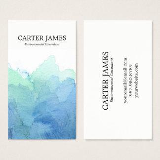 La acuarela azul agita la tarjeta de visita