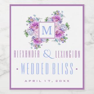 La acuarela azul de la lavanda florece el boda del etiqueta para botella de vino