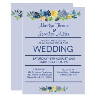 La acuarela azul florece la invitación del boda