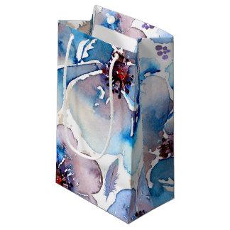 La acuarela Boho floral azul empluma el boda Bolsa De Regalo Pequeña