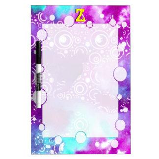 La acuarela burbujea púrpura/turquesa pizarra blanca