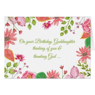 La acuarela de la ahijada florece cumpleaños tarjeta de felicitación