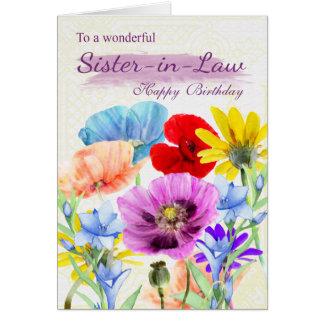La acuarela de la cuñada florece la tarjeta de