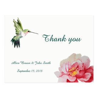 La acuarela de la flor del boda le agradece postal