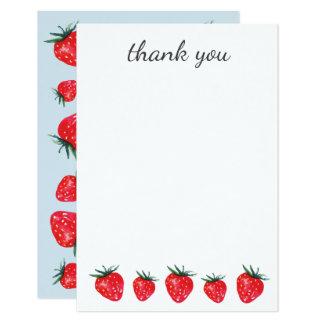 La acuarela de la fresa le agradece las notas invitación 8,9 x 12,7 cm