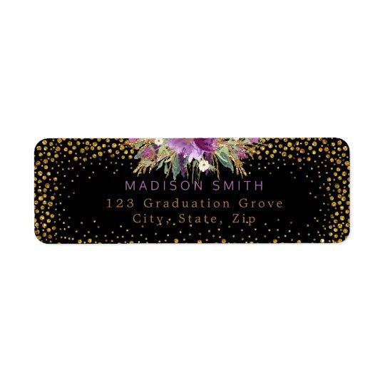 La acuarela del brillo florece negro del confeti etiqueta de remitente