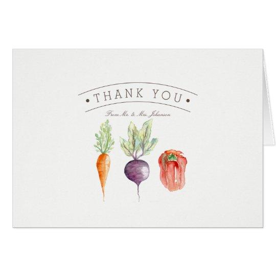 La acuarela del remiendo del Veggie le agradece Tarjeta De Felicitación