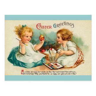 La acuarela Eggs los saludos finos de Pascua del Postal