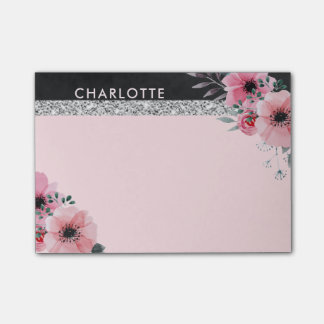 La acuarela elegante femenina florece rosa del notas post-it®