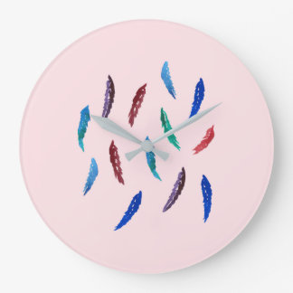 La acuarela empluma el reloj de pared redondo