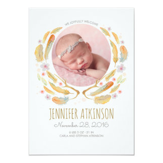 La acuarela empluma nacimiento floral del bebé de invitación 12,7 x 17,8 cm