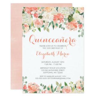 La acuarela en colores pastel florece Quinceañera Invitación 12,7 X 17,8 Cm