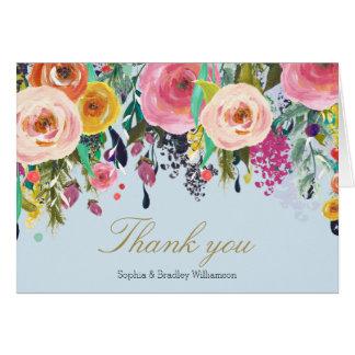 La acuarela floral del jardín romántico azul le tarjeta pequeña