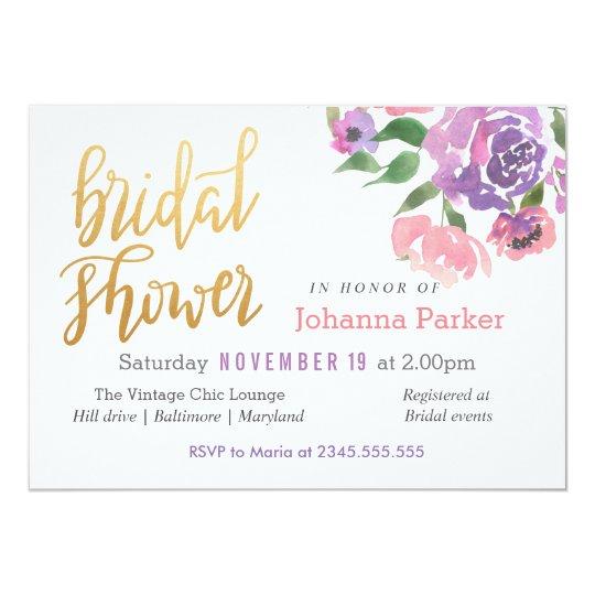 La acuarela florece la escritura nupcial de la invitación 12,7 x 17,8 cm