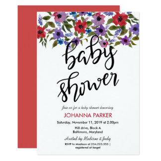 La acuarela florece la fiesta de bienvenida al invitación 12,7 x 17,8 cm