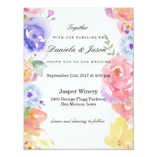 La acuarela florece la invitación del boda
