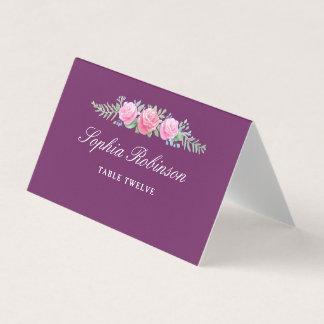 La acuarela florece la magenta oscura del número tarjeta de asiento