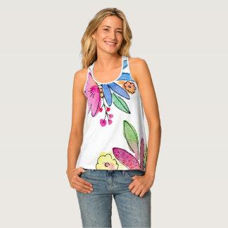 La acuarela florece las camisetas sin mangas de la