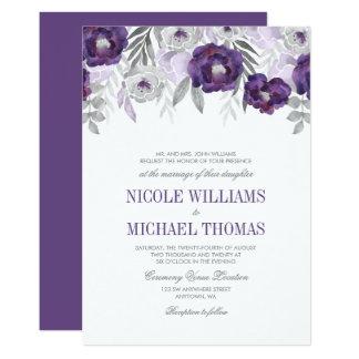La acuarela gris púrpura florece invitaciones del invitación 12,7 x 17,8 cm