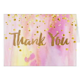 Watercolor Thank You Note Card