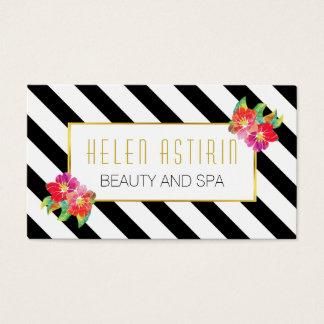 La acuarela moderna florece rayas blancos y negros tarjeta de visita