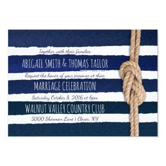 La acuarela náutica del nudo raya el boda invitación 12,7 x 17,8 cm