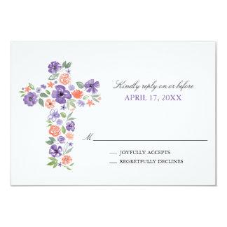 La acuarela púrpura florece la primera comunión de invitación 8,9 x 12,7 cm