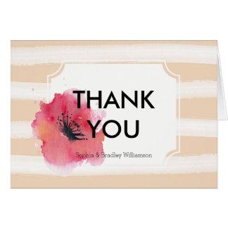 La acuarela raya floral le agradece tarjeta pequeña