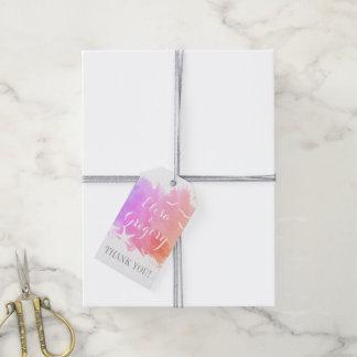 La acuarela rosada, boda de playa de las estrellas etiquetas para regalos