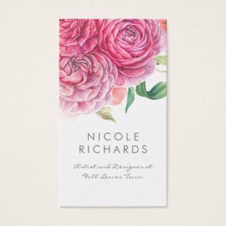 La acuarela rosada florece botánico y elegante tarjeta de visita