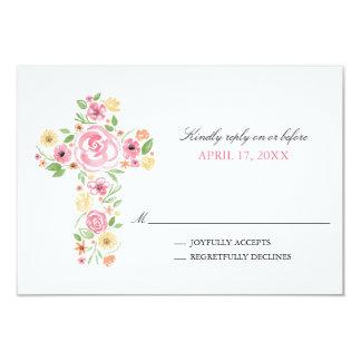 La acuarela rosada florece la primera comunión invitación 8,9 x 12,7 cm