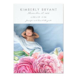 La acuarela rosada florece nacimiento de la niña invitación 12,7 x 17,8 cm
