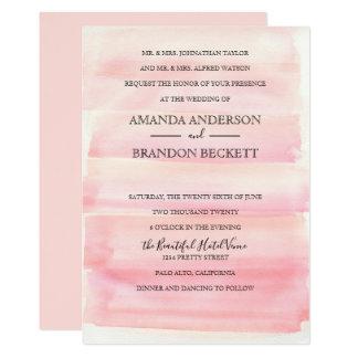 La acuarela se ruboriza invitación rosada del boda