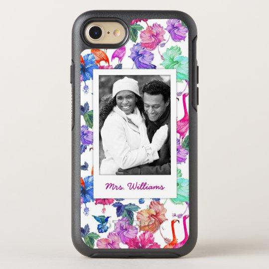 La acuarela tropical el   añade su foto y la funda OtterBox symmetry para iPhone 7
