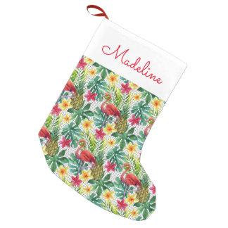 La acuarela tropical el | añade su nombre calcetín navideño pequeño