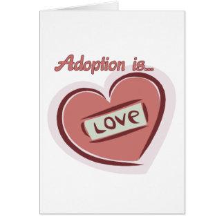 La adopción es amor tarjeta de felicitación