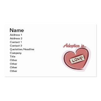 La adopción es amor plantillas de tarjetas de visita