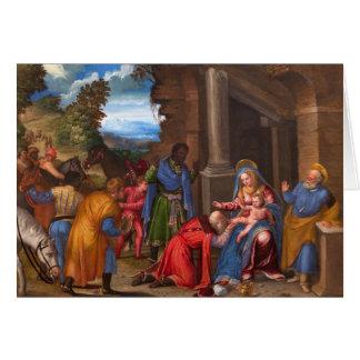 La adoración de la tarjeta de Navidad de unos de