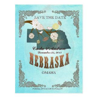 La aguamarina ahorra la fecha - mapa de Nebraska Postal