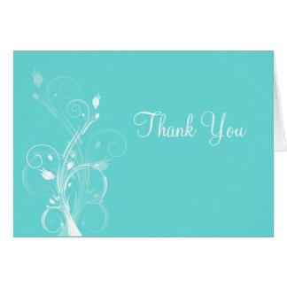 La aguamarina azul y florales blancos le agradecen tarjeta de felicitación