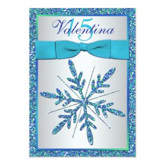 La aguamarina, plata, copo de nieve azul invitación 12,7 x 17,8 cm