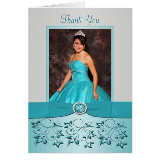 La aguamarina y la plata florales le agradecen car felicitación